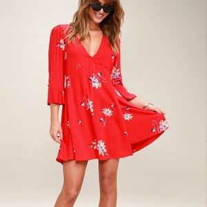 TIME ON MY SIDE RED FLORAL PRINT WRAP DRESS